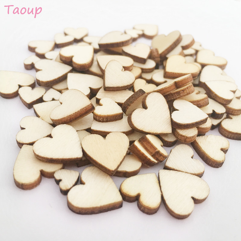 Taoup 100Pcs/pack Love Heart Wooden Rustic Weddings & Events Party Wooden Buttons Scatter Scrapbooking Buttons Valentine's Day