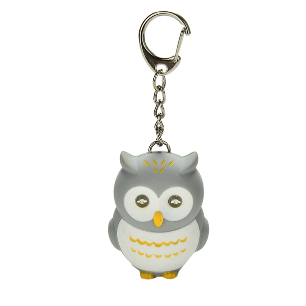 LED keychains owls keychain sound/voice glowing pendant keychains creative gifts children toy New Cute gift for lovers