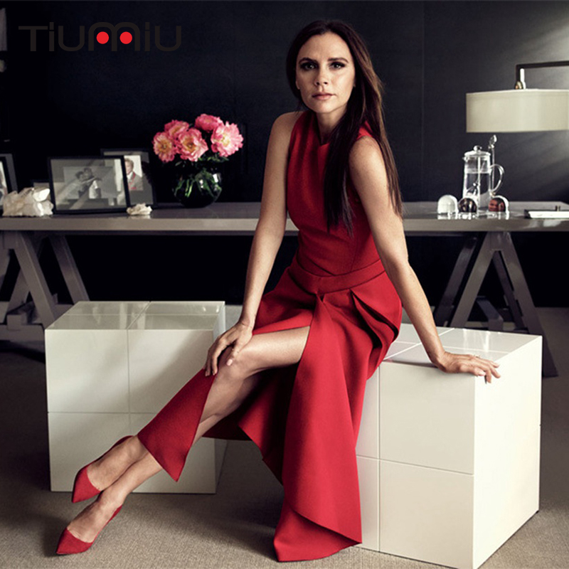2018 New Runway Victoria Fashion Dress for Women Solid Color Black Red Sexy Sleeveless Asymmetrical Mid-Carf Dresses Party Cloth