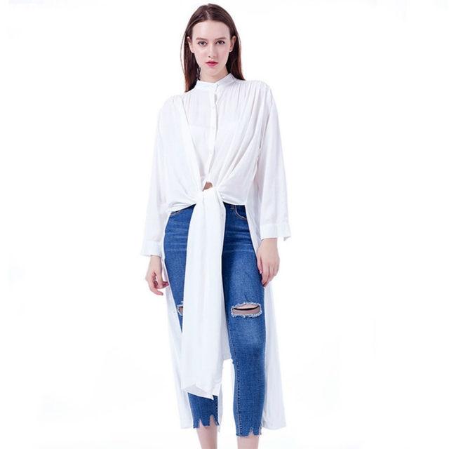 ae82e5f6b0643 Twojstyle Autumn Winter Maxi long Shirt Dresses Ankle-length Dress Women  Casual Solid White Loose Long Sleeve Novelties Oveisiz