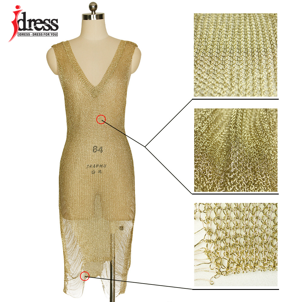 IDress 2017 Sexy Deep V Neck Hollow Out Golden String Knitting Summer Bodycon Women Dresses Sleeveless Mini Club Dress Vestidos (13)