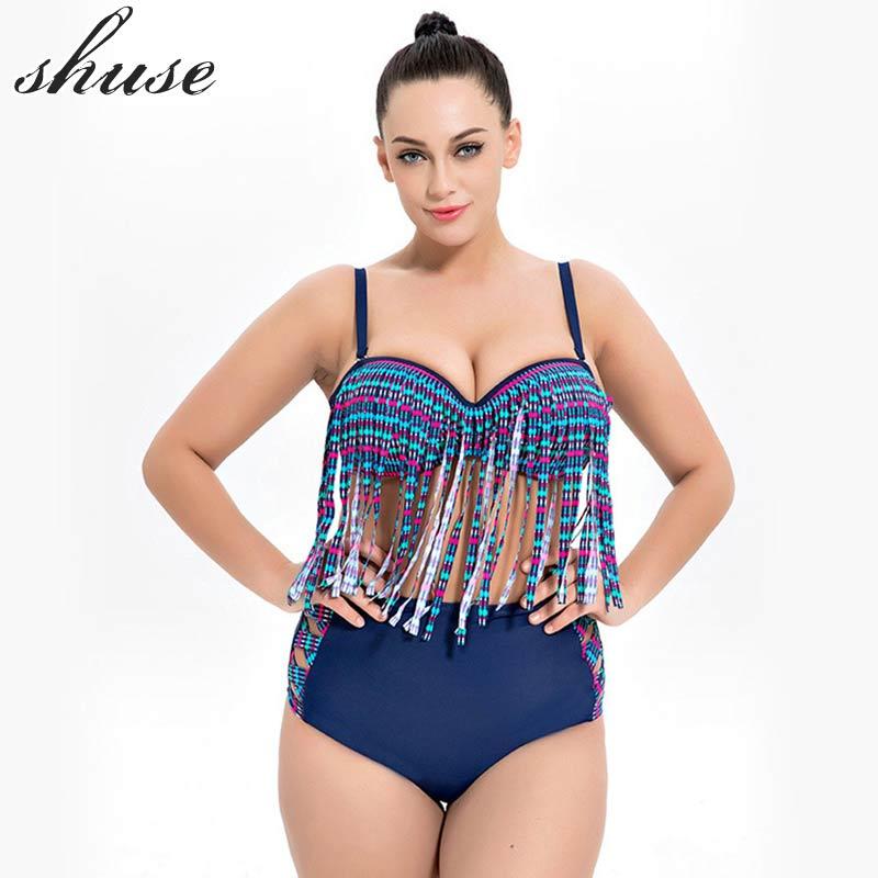 SHUSE Plus Size Bikini Swimsuit Әйелдер Гейті Талия - Спорттық киім мен керек-жарақтар - фото 1