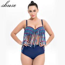 SHUSE Plus Größe Bikini Badeanzug Frauen Höhe Taille Patchwork Print Solid Push Up Bikini Set Bademode Famale 6XL Größe Beachwear