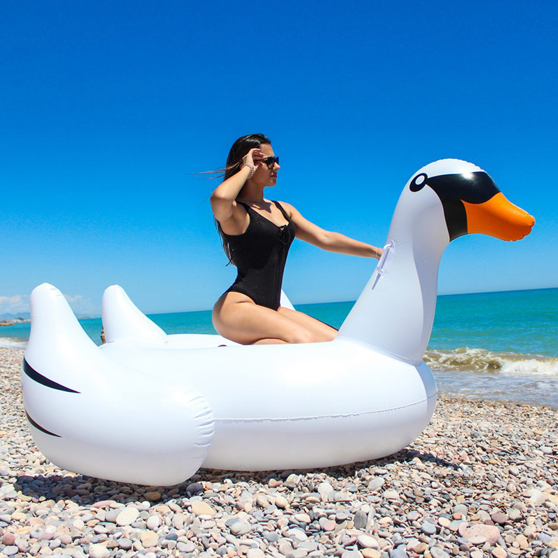 Giant white swan pool float summer beach mattress 190cm 75inch water toys swan float for women giant adult inflatable pool toys