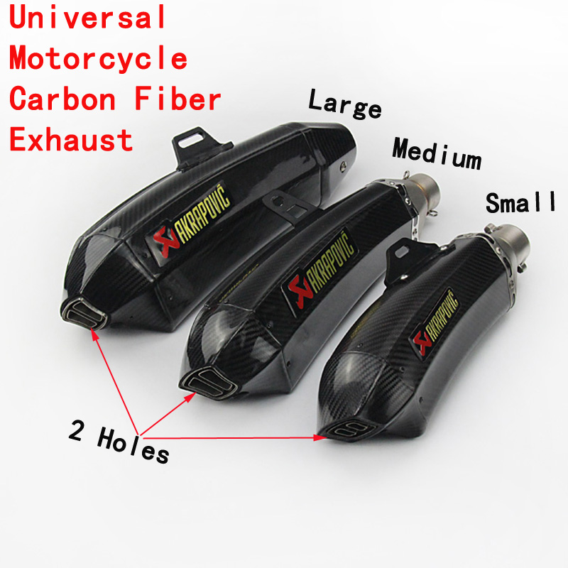 Universal Cobra Muffler Pipe Inlet 51mm 61mm Motorcycle Carbon Fiber Exhaust With Sticker Motorbike Escape For Ninja800 CBR500