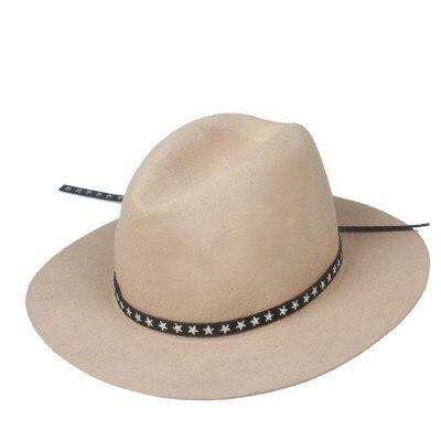 Новая модная женская мужская шерстяная шляпа fedora фетровая Панама женская элегантная мягкая Шляпа Дерби мягкая фетровая шляпа с кожаным брендом - Цвет: Khaki