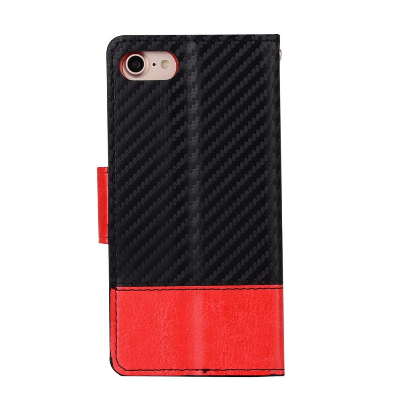 Dulcii for Apple iPhone 7 4.7 inch Phone Case Bi-color Carbon Fibre Leather Wallet Cell Phone Casing for iPhone7 4.7 inch