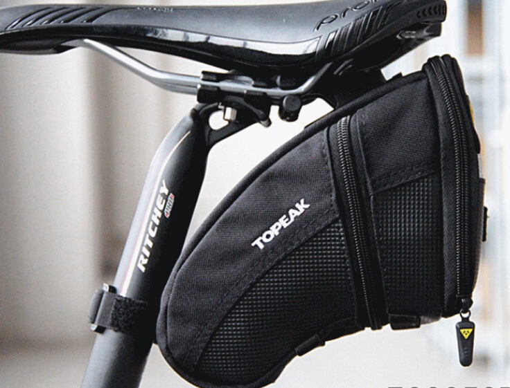 Medium Black New Topeak Aero Wedge Seat Bag Strap//On