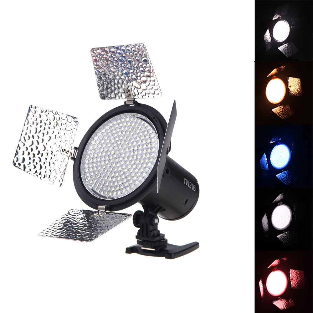 Top Quality YONGNUO YN216 3200K 5500K LED Video Light Camera Shoot with 4 Color Plates for