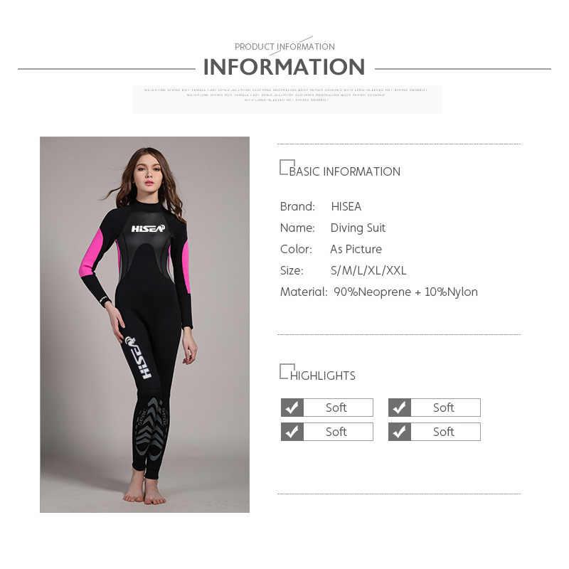 Hisea vrouwen Duiken Wetsuit 3 MM Een Stuk Lange Mouwen Wetsuit UV Beschermende Zwemmen Surf Neopreen Nat Pak ms Badpak