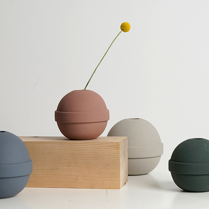 Handmade ball cement plant flowerpot silicone mold decorative ornamental gypsum concrete flower vase mold