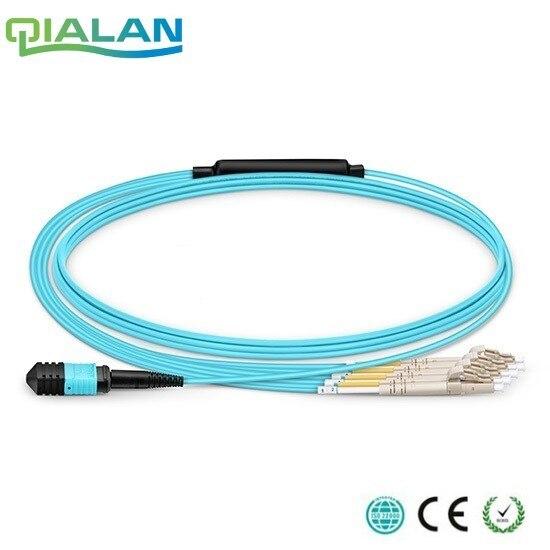 1 m Cavo Patch MPO MTP OM3 Femmina a 6 LC UPC Duplex 12 Fiber Patch cord 12 Core Ponticello OM3 Breakout Cavo, tipo A, di Tipo B,