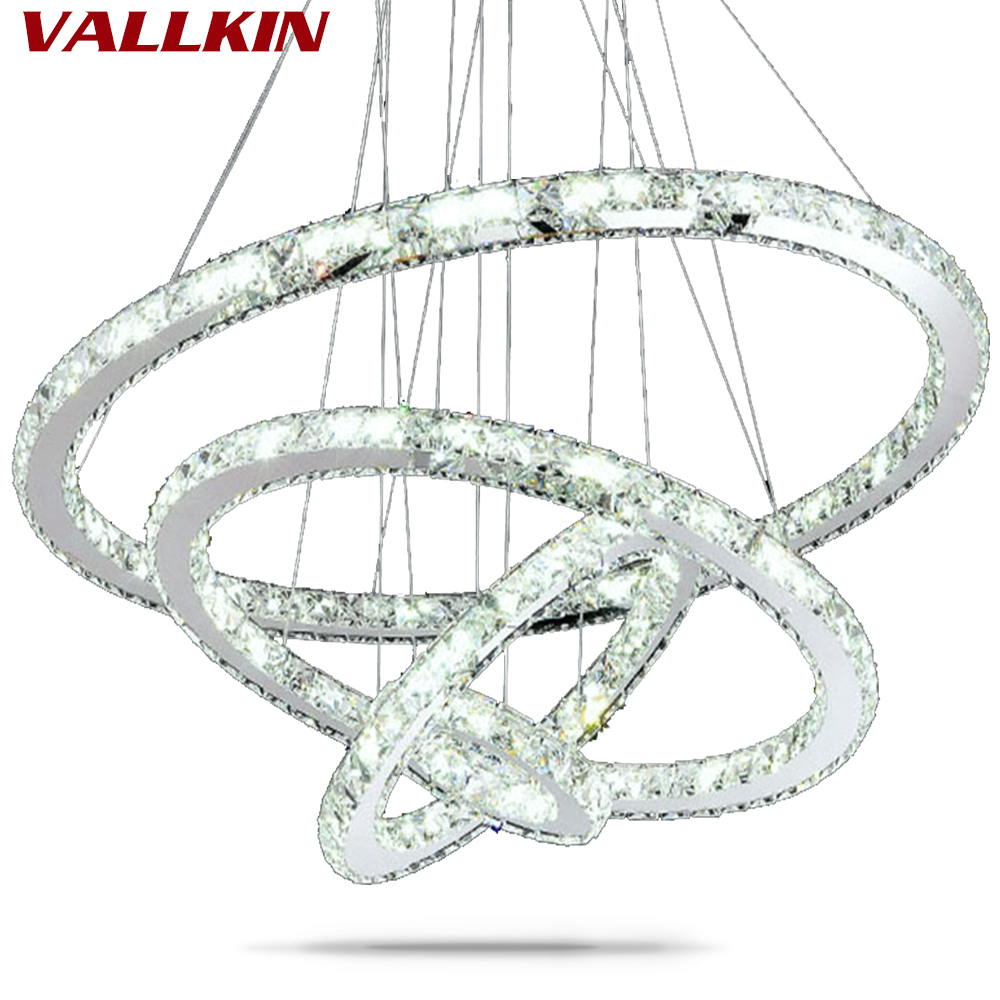 DIY LED Pendant Lamp Chandeliers K9 Crystal Hanging Fixtures For Dining Room With AC100 To 240V