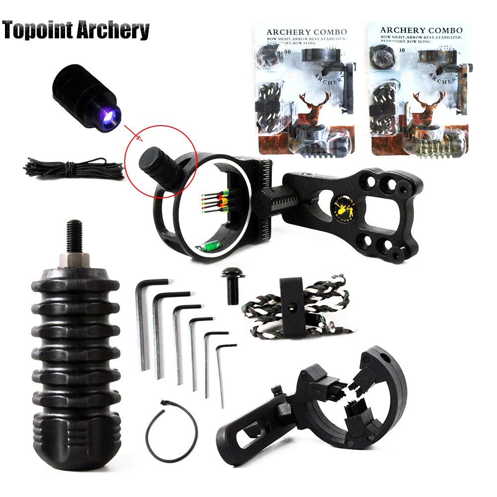 Bow & Arrow Archery Hunting 5pin Bow Sight Slings Arrow Rest Bow Stabilizer Peep Sight Compound Bow Kit Compound Bow Accessories Set