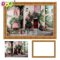 DPF Diamond Embroidery House Diamond Painting Cross Stitch With Frame Full Round Diamond Mosaic Kit Home