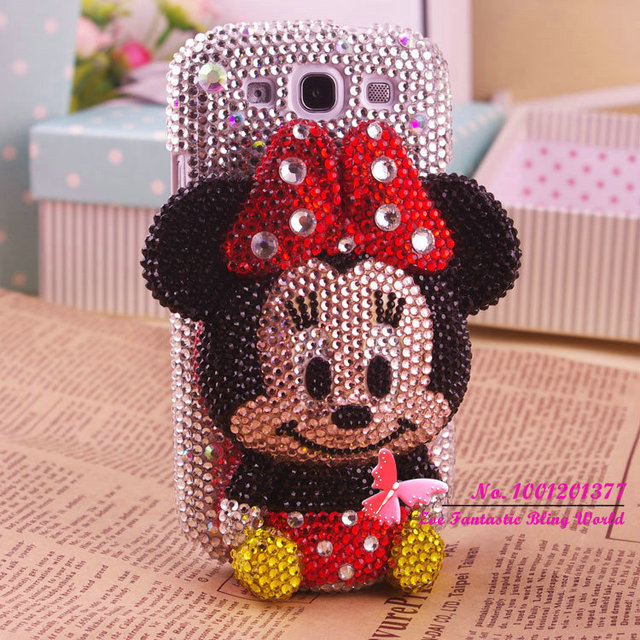 High quality lovely 3D Minnie bling diamond phone cover for Samsung galaxy S3 hot sales lovely cell phone cover for i9300 930