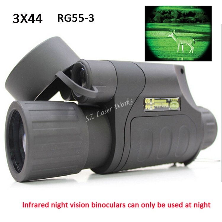 Gen1 all dark night vision sight 3X44 monocular infrared night vision goggles telescope for hunting night scope free shipping wg650 night vision monocular night hunting scope sight riflescope night vision binoculars optical night sight free ship
