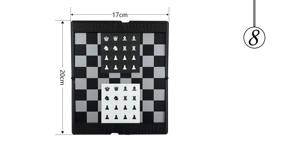 Easytoday Mini Chess Games Set Plastic Chess Board Portable Magnetic Folding Chess Pieces Pocket Entertainment Games (8)