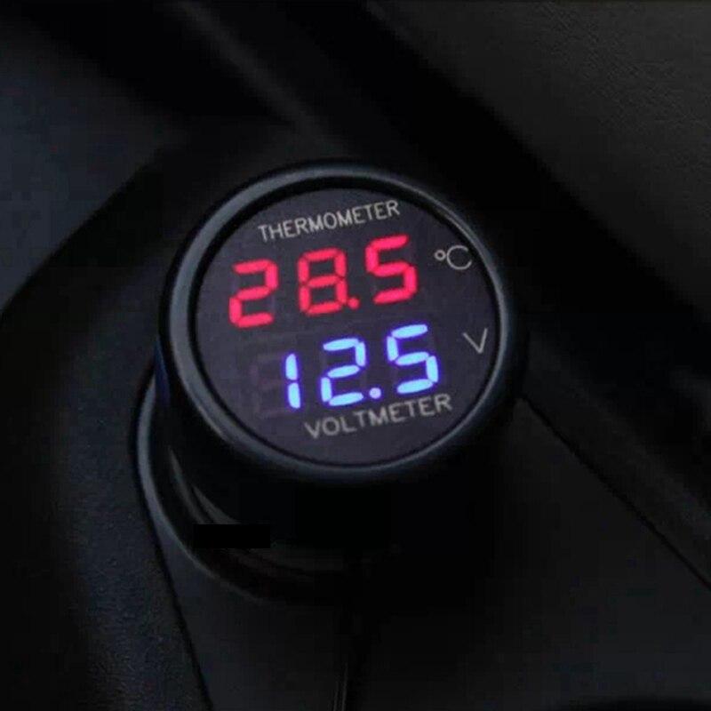 Ketotek-voltmètre de voiture 2 en 1, thermomètre numérique 12V 24V DC, avec affichage numérique de la température, avec batterie, rouge bleu vert, Led double affichage