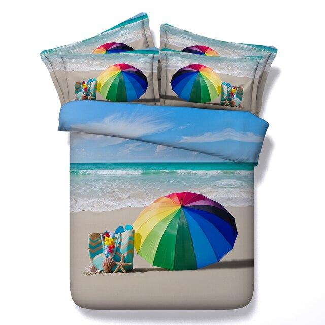 Beach Bedding set 3D Sea seashell duvet cover bed sheet bedspread Super king queen size double twin single linen Designer 4PCS
