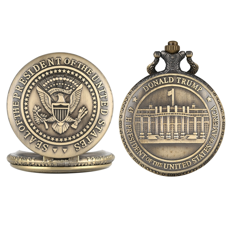 Seal Of The President Of United States Of America White House Donald Trump Quartz Pocket Watch Chain Art Collections Necklace