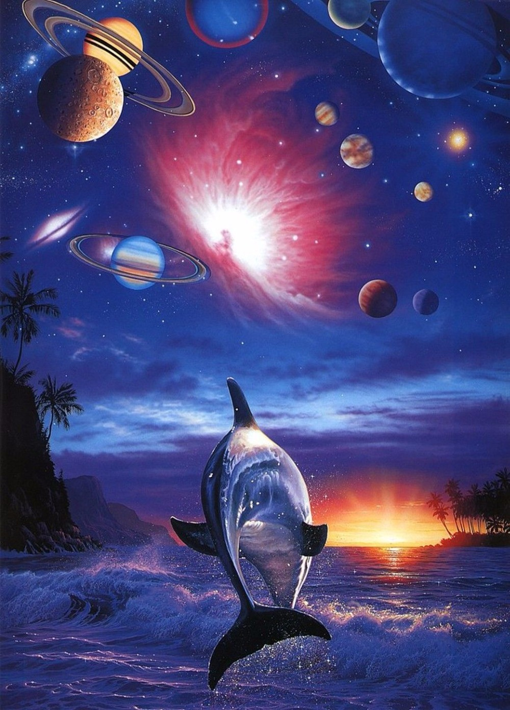 Dolphin Cosmic Planetary Space Silk Poster Art Bedroom Decoration  2556(China (Mainland))