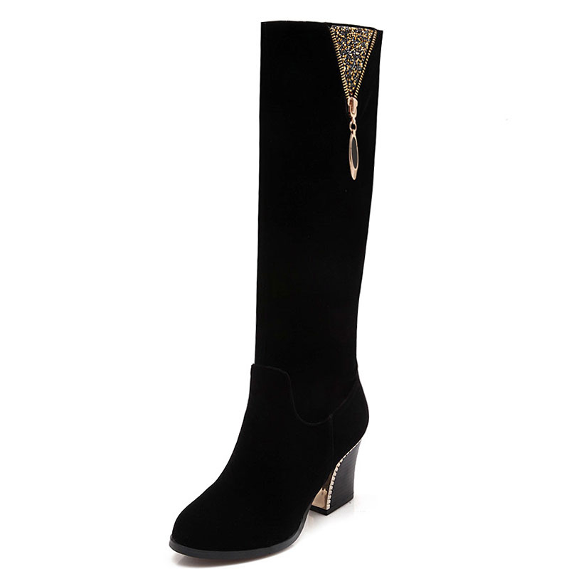 ФОТО winter warm short plush zip round toe elegant knee-high leisure solid comfotable women boots thick high heel  women shoes ss150