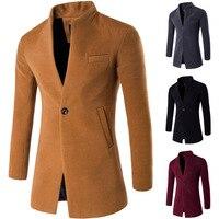 2018 New Wool Coat Men Winter Long Mens coat Slim Cardigan Windbreaker Mandarin Collar Casual Woolen Men Overcoat