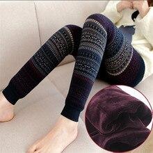 Women Leggings Winter Warm Thick Velvet Leggings Elastic High Waist Striped Christmas Pants Female Oversize Totem Trousers AB679