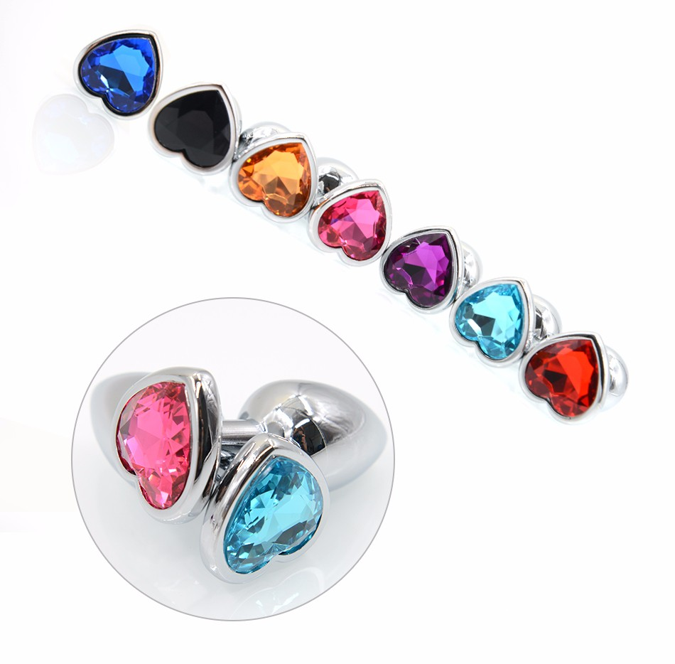 AuReve Hot Sale Smooth Steel Anal Plug Pretty Crystal Heart Shaped Jewelry Metal Butt Plug Sex Toys For Men Women Free Shipping 9