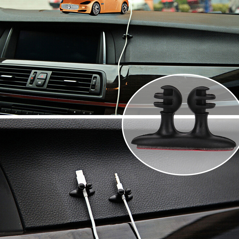 8PCS Car Wire Clip Cord Cable Holder Tie Clip Fixer Organizer Adhesive Auto Cable Clip Cord Charger Line Clasp Clamp Accessories