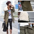 2016 winter jacket women cotton-padded berber fleece medium-long olive wadded jacket coat outerwear female plus size thickening