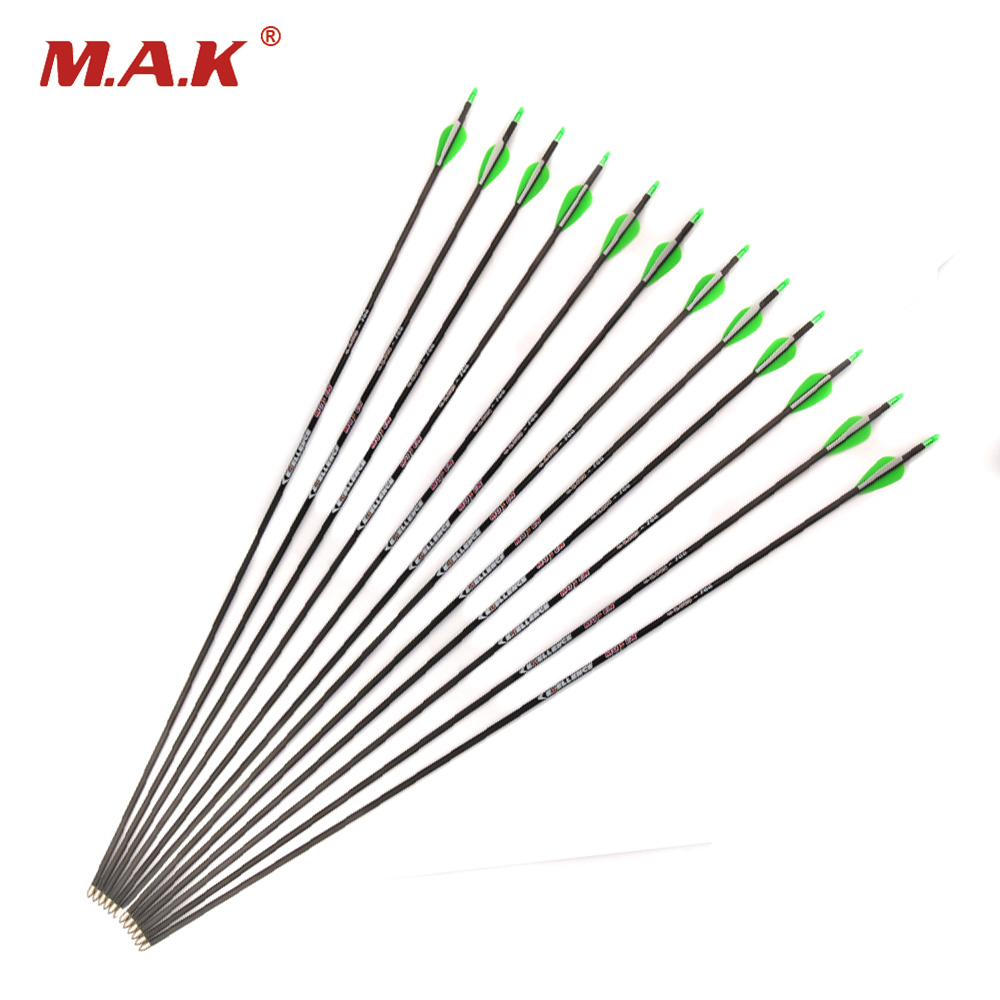 6/12/24pcs 30 Inch Spine 700 OD 8mm ID 4.2mm Pure Carbon Arrows for 30-40lbs Compound/Recure Bow Hunting Shooting Archery spine lady 357 40