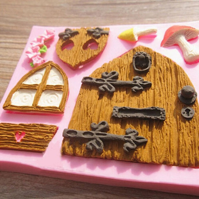 wholesale baking mold cake decorating supplies home kitchen silicone 3d fairy house door cake mold chocolate - Wholesale Cake Decorating Supplies