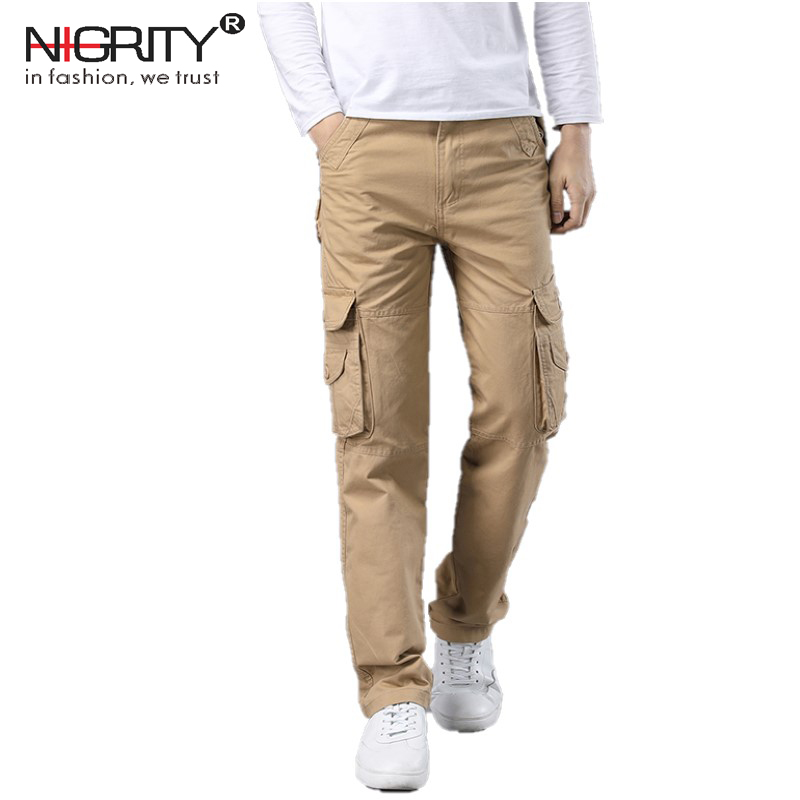 NIGRITY New 2018 mens Cargo Pants For Men Military Straight Trousers Casual Cotton jogge ...