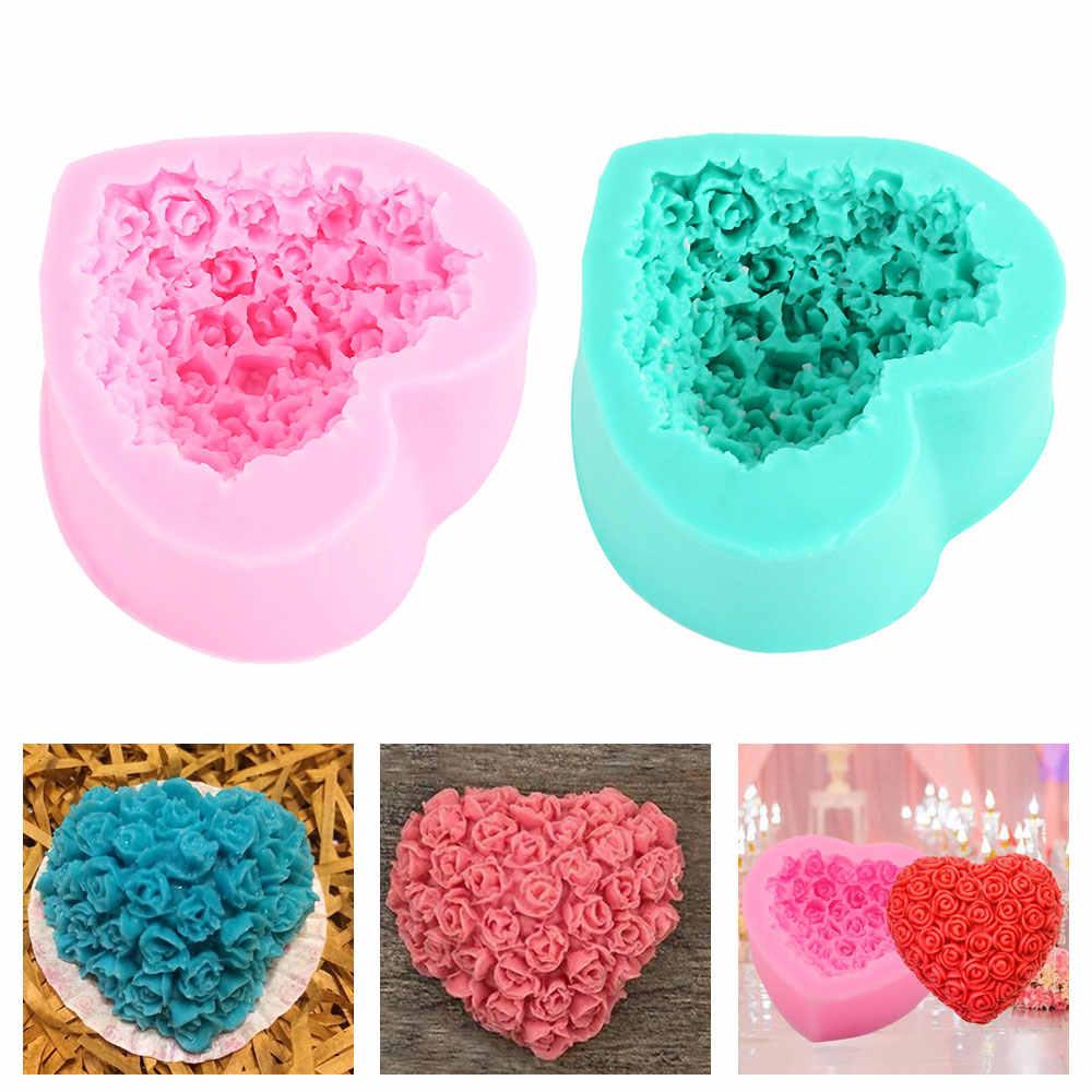 Flor rosa Molde de Silicone molde para Fondant Sabão 3D Handmade Resina Artesanato Cozinha Ferramentas Do Cozimento Do Bolo Molde Do Doce de Chocolate