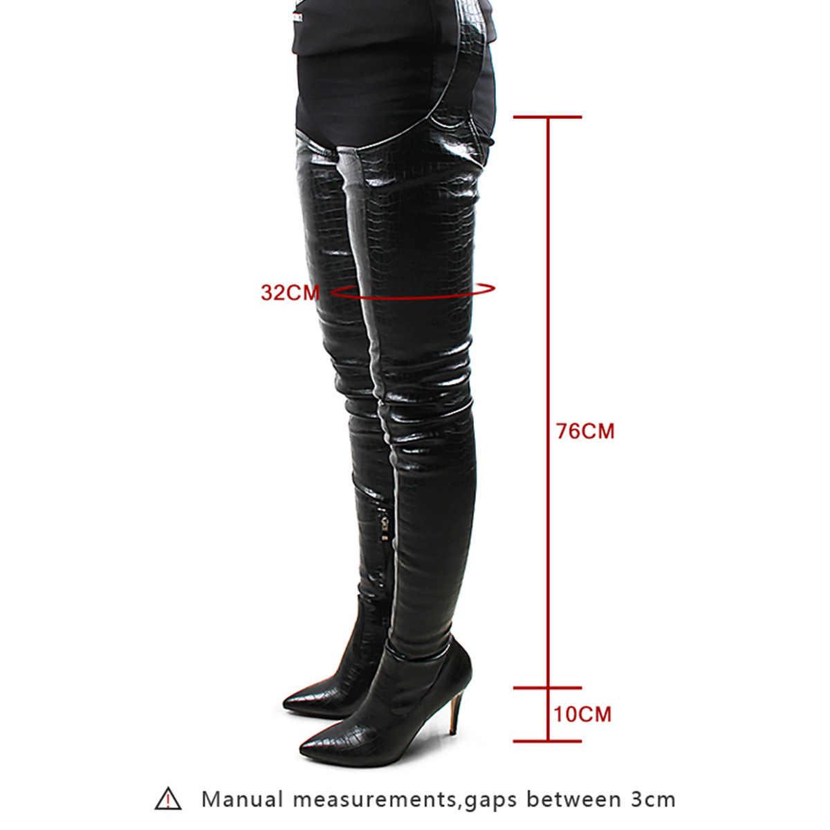 Prova Perfetto Euramerican สไตล์ผู้หญิงสีดำเซ็กซี่รองเท้าเข่ารองเท้าส้นสูงชี้ Toe แฟชั่น Rihanna รองเท้าเซ็กซี่