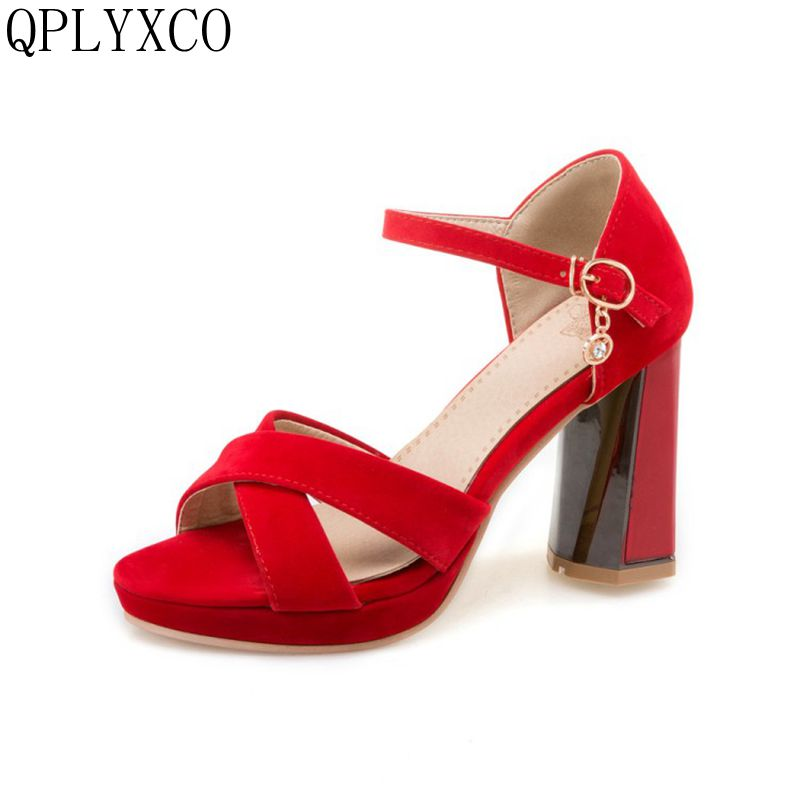 QPLYXCO 2017 New fashion Big Size 34-47 Peep Toe Ankle Strap Thick High Heel Sandals Platform Ladies party Shoes Women 750 qplyxco 2017 new big size 34 47 ankle boot short autumn winter sexy women s pointed toe high heels wedding party shoes 584 2