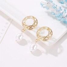 TTLIFE Freshwater Pearl Drop Earrings For Women 2019 Brincos Long Geometric Dangle Earring Gold Female Vintage Jewelry Gift цена и фото