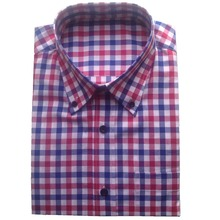 100% COTTON blue red white GINGHAM Dress Shirts Custom MADE,BESPOKE TAILORED DRESS SHIRTS,Checkered Patterned Shirts For Men