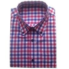 100% כותנה כחול אדום לבן שמלת משבצות חולצות תפור לפי מידה, העידו מותאם שמלת חולצות, משובץ בדוגמת חולצות לגברים