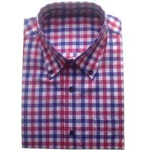 Image 1 - 100% 코튼 블루 레드 화이트 깅엄 드레스 셔츠 맞춤 제작, 맞춤형 드레스 셔츠, 남성용 체크 무늬 무늬 셔츠