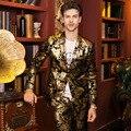 Плюс Размер Мужской Моды Золото Печати Тонкий Пиджак Костюм мужской бизнес Формальные платье Вечернее шоу Ночной Клуб бар Певица Танец носить