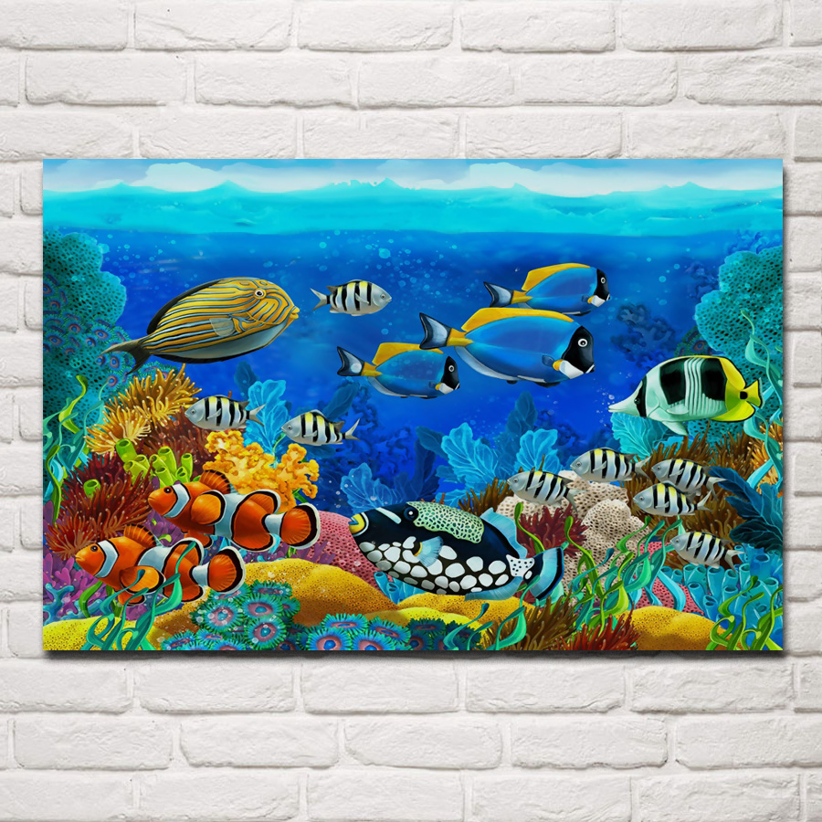 Fish Decor For Home: Tropical Sea Seabed Fish Corals Underwater Ocean Animals