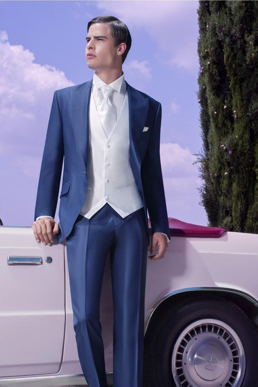 2016 new custom male designer suits and royal blue overcoat man suit man 3 piece suit (jacket + pants + vest, tie)
