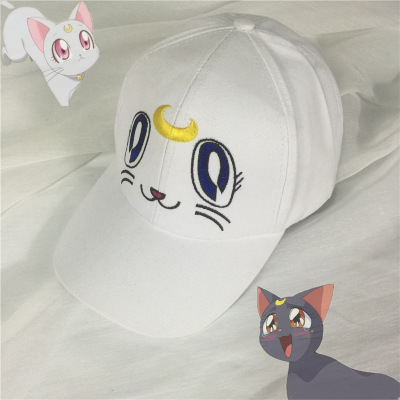 Anime Girl Warrior Hat Sailor Moon Baseball Hip Hip Hop Casual Cap White Cute Little Girl Cover the sun hat cat pattern cosplay