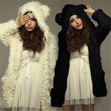2017 Толстовка, осень-зима Для женщин пальто теплая флисовая куртка Симпатичный медведь ухо Повседневное черный, белый цвет Толстовка Chaquetas Mujer Большие размеры
