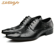 Hanmce Genuine Leather Men Shoes Luxury High Quality Handmade Dress Shoes Crocodile Pointed Toe Office Shoes Lace-up Flat Shoes