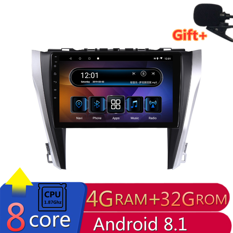 "10"" 4G RAM 2.5D IPS 8 Core Android 8.1 Car DVD Multimedia Player GPS For Toyota camry 2015 2016 2017 audio car radio navigation"