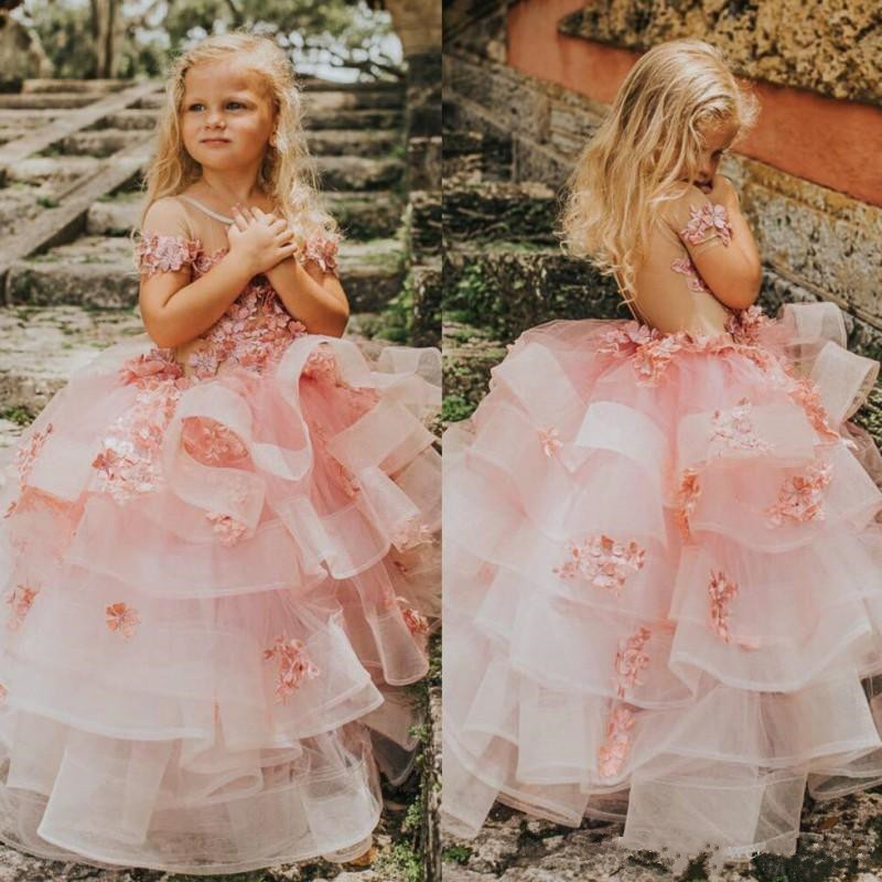 Classy Tiered   Flower     Girl     Dress   with Handmade   Flowers   Illusion Back Short Sleeves Toddler Pageant Gowns Tulle Kids Prom   Dresses